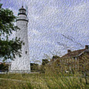 Painted Fort Gratiot Light House Art Print