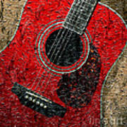Painted Guitar - Music - Red Art Print