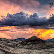 Painted Hills In Oregon Panorama At Sunset Art Print