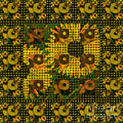 Painted Sunflower Abstract Art Print