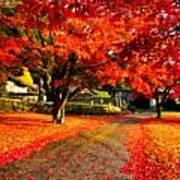 Painterly Autumn Path Art Print