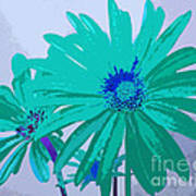 Painterly Flowers In Teal And Blue Pop Art Abstract Art Print