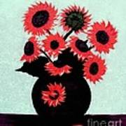Painterly Red Sunflowers With Purple Art Print