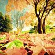 Painting Of Autumn Fall Landscape In Park Art Print