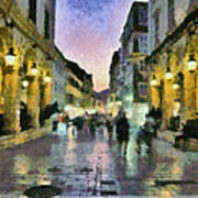 Old City Of Corfu During Dusk Time Art Print