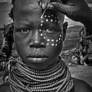 Painting The Face Of A Karo Tribe Girl (omo Valley-ethiopia) Art Print