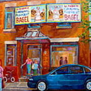 Paintings Of Montreal Fairmount Bagel Shop Art Print by Carole Spandau