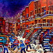Paintings Of Montreal Hockey On Du Bullion Street Art Print