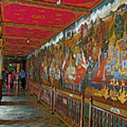 Paintings On Wall Of Middle Court Hallof Grand Palace Of Thailand Art Print