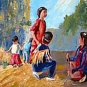 Paiute Indian Children Playing At The Powwow Art Print