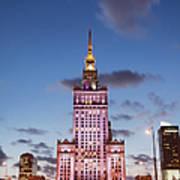 Palace Of Culture And Science At Dusk In Warsaw Art Print
