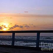 Palanga Sea Bridge At Sunset. Lithuania Art Print