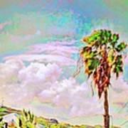 Palm Tree Against Pastel Sky - Square Art Print