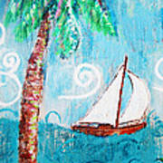 Palm Tree And Sailboat By Jan Marvin Art Print