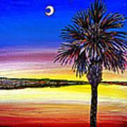 Palmetto Sunset Moon And Stars Art Print