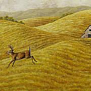 Palouse Farm Whitetail Deer Art Print by Crista Forest