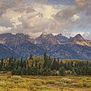 Panaroma Clearing Storm On A Fall Morning In Grand Tetons National Park Art Print