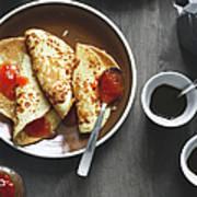 Pancakes And Coffee Art Print