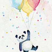 Panda Floating With Balloons Art Print