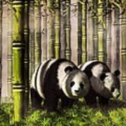 Pandas In A Bamboo Forest Art Print