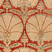 Panel Of Red Cut Velvet With Carnation Art Print