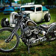 Panhead Harley And Ford Pickup Art Print
