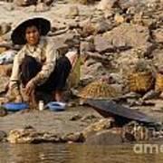 Panning For Gold Mekong River 1 Art Print