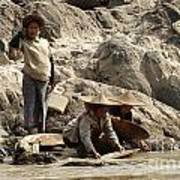 Panning For Gold Mekong River 2 Art Print