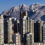 Pano Vancouver Snowy Skyline Print by David Smith