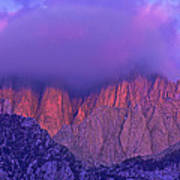 Panorama Alpenglow On Mount Whitney Eastern Sierras California Art Print
