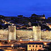 Panorama Avila Spain Wall At Night Art Print