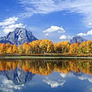 Panorama Fall Morning At Oxbow Bend Grand Tetons National Park Art Print