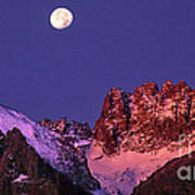Panorama Moonset Middle Palisades Glacier Eastern Sierras California Art Print