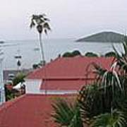 Panorama Of Charlotte Amalie Bay Art Print by Russell Windle
