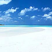 Panorama Of Deserted Sandy Beach And Island Maldives Art Print by Matteo Colombo