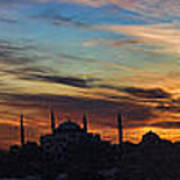 Panorama Of Istanbul Sunset- Call To Prayer Print by David Smith