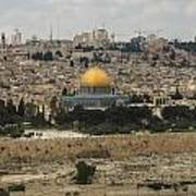 Panorama Of The Temple Mount Including Al-aqsa Mosque And Dome Art Print