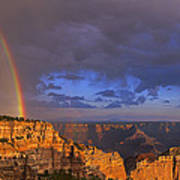 Panorama Rainbow Over Cape Royal North Rim Grand Canyon National Park Art Print
