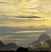 Panorama Sunset Aparaman And Towyen Tepuis Kavak Venezuela Art Print