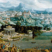 Panorama With The Abduction Of Helen Amidst The Wonders Of The Ancient World Art Print