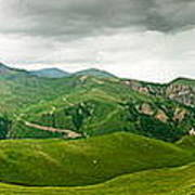 Panoramic Green Mountains Art Print by Boon Mee