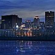 Panoramic Of Skyline At Dusk, Montreal Art Print