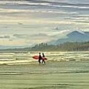 Panoramic Of Surfers On Long Beach, Bc Art Print