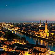 Panoramic Of Verona At Dusk Art Print