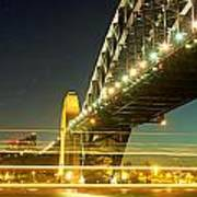 Panoramic Photo Of Sydney Harbour Bridge Night Scenery Art Print