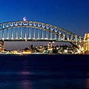 Panoramic Photo Of Sydney Night Scenery Art Print