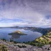 Panoramic View Of Crater Lake And Wizard Island Art Print