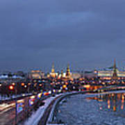 Panoramic View Of Moscow River And Kremlin - Featured 2 Art Print