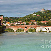 Panoramic View Of Ponte Pietra In Verona Art Print