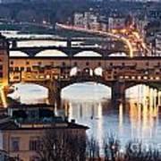 Panoramic View Of Ponte Vecchio - Florence - Tuscany Art Print